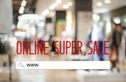 Online super sale web banner on blur store background, business. And technology concept royalty free stock image