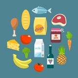 Online supermarket foods flat concept royalty free stock images