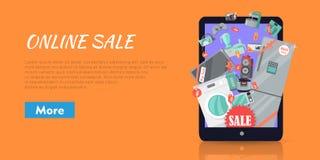 Online-supermarketSale anordningar i resväska royaltyfri illustrationer