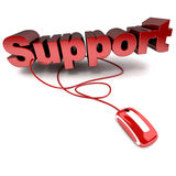 Online support. Red and white 3D illustration of the word support connected to a computer mouse vector illustration
