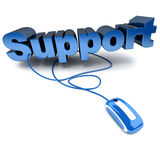 Online support in blue. Blue and white 3D illustration of the word support connected to a computer mouse Stock Photos