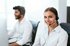 Online Support Center Operator Consulting Client Online Stock Photos