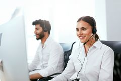 Online Support Center Operator Consulting Client Online Stock Photography