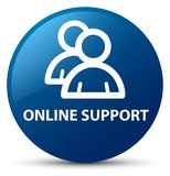 Online support (group icon) blue round button. Online support (group icon) isolated on blue round button abstract illustration Stock Photos