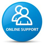Online support (group icon) cyan blue round button Stock Photo