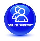 Online support (group icon) glassy blue round button Stock Image