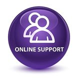Online support (group icon) glassy purple round button. Online support (group icon) isolated on glassy purple round button abstract illustration Stock Photos