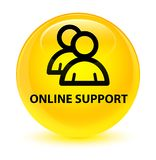 Online support (group icon) glassy yellow round button. Online support (group icon) isolated on glassy yellow round button abstract illustration Stock Images
