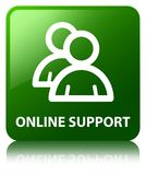 Online support (group icon) green square button Stock Photos
