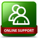 Online support (group icon) green square button red ribbon in mi Stock Image