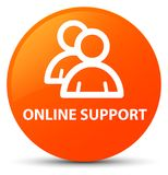 Online support (group icon) orange round button. Online support (group icon) isolated on orange round button abstract illustration Royalty Free Stock Image