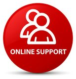 Online support (group icon) red round button. Online support (group icon) isolated on red round button abstract illustration Stock Image