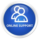 Online support (group icon) premium blue round button Royalty Free Stock Image