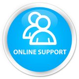 Online support (group icon) premium cyan blue round button. Online support (group icon) isolated on premium cyan blue round button abstract illustration Royalty Free Stock Image