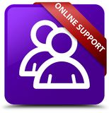 Online support (group icon) purple square button red ribbon in c Royalty Free Stock Photography