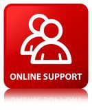 Online support (group icon) red square button Royalty Free Stock Photo