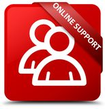 Online support (group icon) red square button red ribbon in corn. Online support (group icon) isolated on red square button with red ribbon in corner abstract Stock Photos
