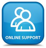 Online support (group icon) special cyan blue square button. Online support (group icon) isolated on special cyan blue square button abstract illustration Stock Photos