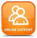 Online support (group icon) special orange square button. Online support (group icon)  on special orange square button abstract illustration Royalty Free Stock Images