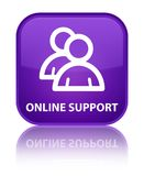 Online support (group icon) special purple square button. Online support (group icon) isolated on special purple square button reflected abstract illustration Stock Photography