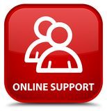 Online support (group icon) special red square button. Online support (group icon) isolated on special red square button abstract illustration Stock Photos