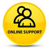Online support (group icon) special yellow round button. Online support (group icon) isolated on special yellow round button abstract illustration Royalty Free Stock Image