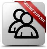 Online support (group icon) white square button red ribbon in co Stock Photography