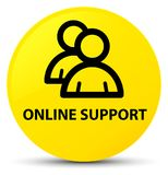 Online support (group icon) yellow round button Stock Photos