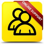 Online support (group icon) yellow square button red ribbon in c Royalty Free Stock Photography