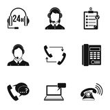 Online support icons set, simple style Royalty Free Stock Images