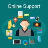 Online support illustration. Flat design illustration concepts for customer support, technical support, consulting, service. Royalty Free Stock Photos