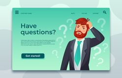 Online support landing page. Have questions web page, male asking question and help difficult decide vector template royalty free illustration
