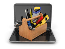 Online support. Laptop and toolbox. 3d Stock Photography