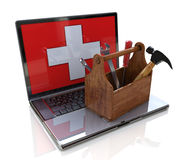 Online support. Laptop and toolbox Royalty Free Stock Image