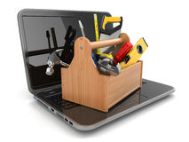 Online support. Laptop and toolbox. Stock Photos