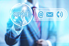 Online support. And service concept pointing finger Stock Photography