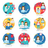 Online support service people staff workers icon set flat style. Vector. Multilingual multi language solution 24/7 callback FAQ call center expert advice store Royalty Free Stock Photography