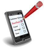 Online Survey. Collects customer opinion on smartphone Stock Images