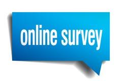 Online survey blue  paper speech bubble Stock Photos