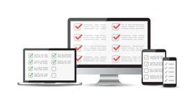 Online survey, checklist set. Tablet, computer, mobile blank scr Stock Image