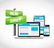 Online survey computer technology. Illustration design over a white background Stock Photography