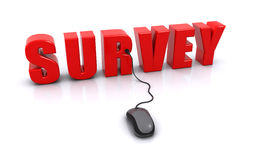 Online survey. Concept with 3d text and a computer mouse on the white background (3d render Royalty Free Stock Image