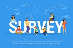 Online survey concept vector illustration of people fulfilling checklist Stock Images