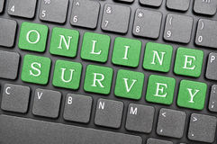 Online survey. Green online survey key on laptop