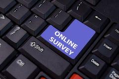 Online Survey isolated on laptop keyboard background