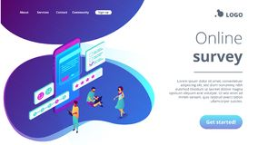 Online survey isometric 3D landing page. royalty free stock photo