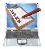 Online survey laptop clipboard concept vector illustration