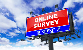 Online Survey on Red Billboard. Stock Photo