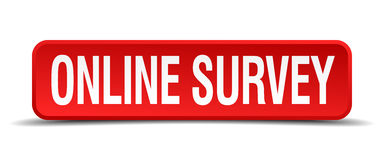 Online survey red 3d square button Royalty Free Stock Images