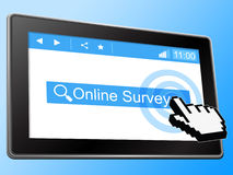Online Survey Represents World Wide Web And Assessing Stock Images